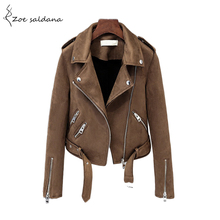 Buy Zoe Saldana 2018 Autumn Faux Suede Motorcycle Jacket Womens Faux Leather Jacket Women Biker Jacket Turn-down Collar Slim PU Coat for $39.46 in AliExpress store