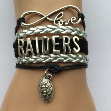 Drop Shipping Infinity Love Raiders Bracelet-NFL Football Team Bracelets Bangle Sports College Bracelet Gift(China)