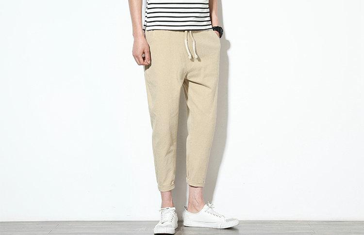 Cotton Linen Joggers Khaki Men's Harem Pants 3