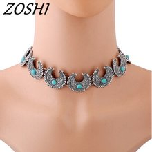 ZOSHI Fashion Hand made blue stone neckalce Tibetan Silver Chain chunky chocker necklace women boho jewelry