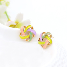 Fashion 2016 Hot New Color Small Windmill Flower  Earrings for Women Party Jewelry Accessoreis