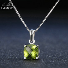 Lamoon 7mm Natural Square Peridot 925 Sterling Silver Simple Pandent Chain Necklace Women Jewelry S925 LMNI037(China)