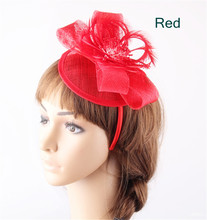 17 Colors sinamay red bases hat derby fascinators bow hats on hair bands elegant women fashion feather flower banquet headpiece(China)