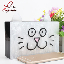 Cute cartoon cat acrylic fashion design party dinner clutch bag ladies chain shoulder bag handbag crossbody mini messenger bag(China)