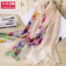 2017 Luxury Brand Scarf Women Silk Wool Shawls Scarves Thicken Warm Wrap Flower Printing Soft Poncho woman echarpe hiver femme(China)