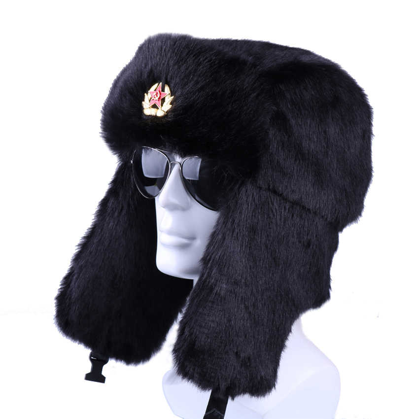 2baeba34bbfdb5 Winter Russian Ushanka Bomber Hat Soviet Badge Army Military Hats Faux Rabbit  Fur Trapper Aviator Cossack