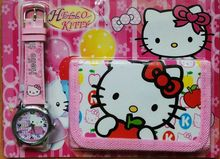Wholesale - 3Sets sanrio Hello Kitty girls cartoon wrist watches + wallets a lot mix order