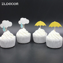 ZLDECOR Rainy Umbrella and Cloud Party cupcake toppers picks decoration for Wedding party favors Decoration supplies