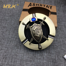 MR.K MAS01 Courage Shield Resin Round Ashtrays Male Portable Wind Proof Smokeless Ashtrays Gift For Warcraft Game Player(China)