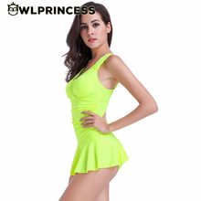 Owlprincess Sexy Plus Size Padded Candy Color Tank Female Halter Skirt Swimwear Women One Piece Swimsuit Beachwear Bathing Suit(China)