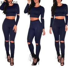 2pcs Sets Cut out Hole BLKPXDS Summer Neck Long Sleeve Ladies Jumpsuits Spandex Womens Jumpsuit Spandex Bodysuit(China)