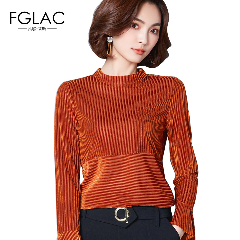 FGLAC Women blouses Fashion Long sleeved Autumn women tops Elegant Slim Flare Sleeve Women tops plus size women clothing