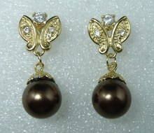 wan 2 styles wholesale 18kgp/silver plated 12mm brown shell pearl butterfly earring #303(China)