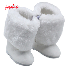 White Mini Fur&cloth Boots For 18 Inch American Girl Doll Shoes Ornament Boots Accessories(China)