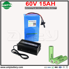 eBike Battery 60v 15Ah for Samsung 18650 30B Cell with 5A Charger 30A BMS for Electric Bicycle Battery 60v 1200w Free Shipping
