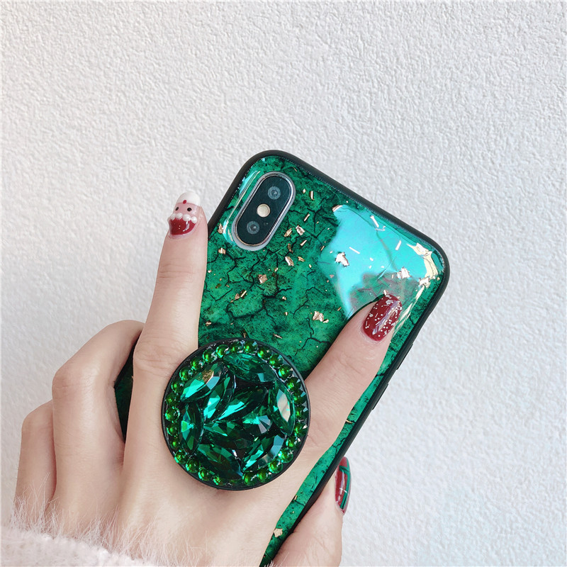 Green emerald marble pattern diamond extension bracket shiny silicone cover case for iphone MAX XS XR 6 S 7 8 plus X phone cases (11)