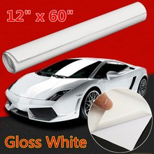 12 Inch x 60 Inch Gloss Glossy White Vinyl Wrap Car Sticker Decal Sheet Roll Film Bubble