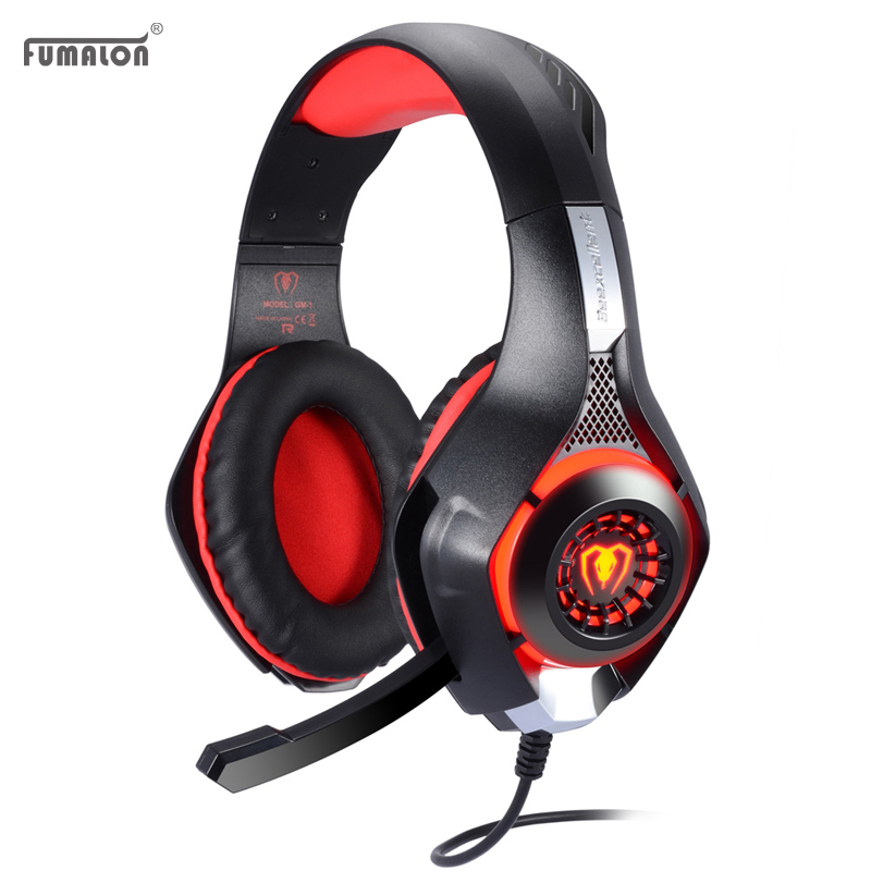 Fumalon GM-1 3.5mm LED Light Vibrator Gaming Headphones Headband with Microphone Noise Reduction for PS4/Xbox One/Mac/PC<br><br>Aliexpress