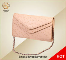 Butterfly Fish Women Celebrity Ostrich Leather Envelope Evening Party Clutch Handbag Shoulder Satchel Messenger Chain Bag(China)