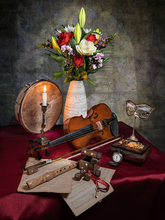 free shipping modern photography violin lily rose vase still life oil painting canvas printings on canvas art decoration picture