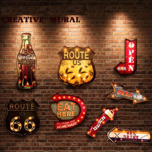 20 Styles Vintage LED Light Neon Signs Decorative Painting For Pub Bar Restaurant Cafe Advertising Signage Hanging Metal Signs(China)