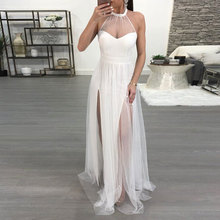 Buy women tulle white mesh party dresses floor-length long maxi beach wear sexy halter sleeveless see summer lace dress