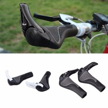 1Pair Cycling MTB Mountain Bike Lock-on Handle Bar Ends Soft Grips Alluminium Alloy Rubber Black White Bicycle Handlebar Grips