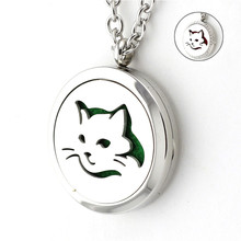 316L Stainless Steel 30mm Love Cat Perfume Locket Necklace Plain Rhinestone Essential Oil Diffuser Locket Pendant Necklace(China)
