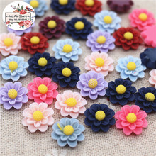 50pcs 13mm Mixed Color flower resin vintage flatback cabochon DIY jewelry/phone decoration No Hole(China)