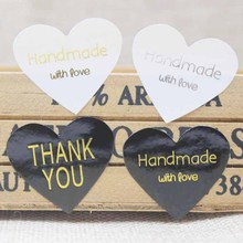 300PCS black handmade labels gold foil,silver thank you self adhesive labels,DIY heart shape bakery/cookies/gift tag labels(China)