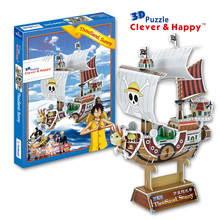 Candice guo 3D puzzle DIY toy paper building model kid assemble anime One Piece cartoon going merry thousand sunny boat ship 1pc