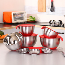 Ingredients Standby Bowls Mixing Bowl Stainless Steel DIY Cake Bread Salad Mixer Kitchen Cooking Tool With a cover with a planer(China)