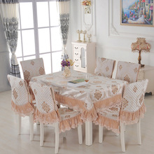 Lace floral jacquard tablecloth set suit 130*180cm table cloth matching chair cover 1 set price 3 colors free ship