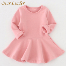 Bear Leader 2016 New Spring Casual Style Pure cotton falbala long-sleeved dress Baby candy color Lovely princess dress