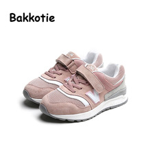 Bakkotie 2017 Fashion Boy Spring Autumn Children Casual Sneaker Leather Toddler Trainer Gril Walking Sprots Kid Brand Shoe Pink(China)
