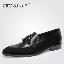 arow VIP Brand Genuine Leather Men Loafers, New Tassel Men Tassel Loafers, Classic Style Slip-on Men Flats For Wedding Shoes(China)