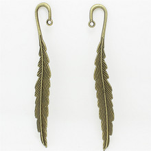 6 pcs 14*116mm fashion classics wholesales feather shape   Antique Bronze lead free metal alloy big bookmark D1060