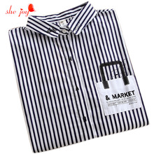 Loose S-XL Blouse Turn Down Collar Striped Cotton Women Clothings Fashion Chemise Long Sleeve Shirts with Pocket Tops