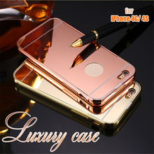 for iPhone 4G 4S New Fashion Luxury Elegant High Quality Metal Aluminum Frame+Acrylic PC Mirror Back Cover for iPhone 4S