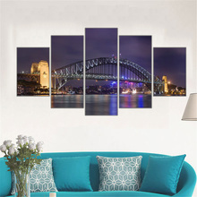 5 Pieces Canvas Wall Art Painting Harbour Bridge Sydney Opera House Picture Night View Art Work for Living Room Modern Frame