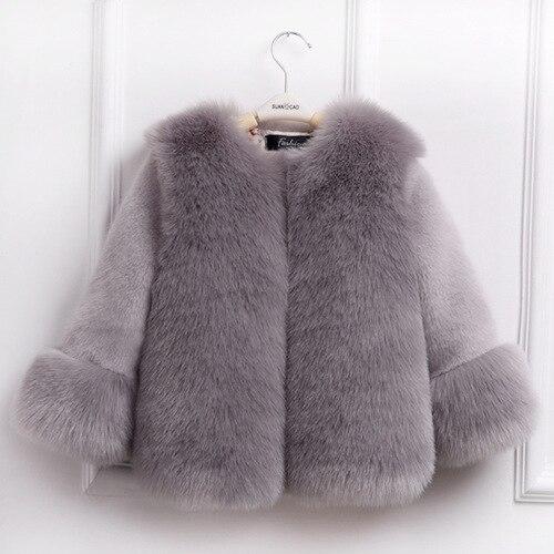 Cold Winter Girls Faux Fur Coats Girl Jacket Fur O-Neck Childrens Faux Fox Fur Clothes Long Sleeve Soft Fur Winter Coats Warm<br>