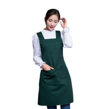 Women Supermarket Waiter Aprons With Pockets Restaurant Kitchen Cooking Nail Shop Art Work Apron Design logo Customize(China)