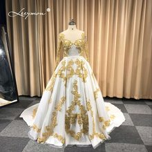 White gold wedding dresses promotion shop for promotional white gold leeymon custom made muslim wedding dress in dubai white and gold lace long sleeves wedding gown junglespirit Image collections