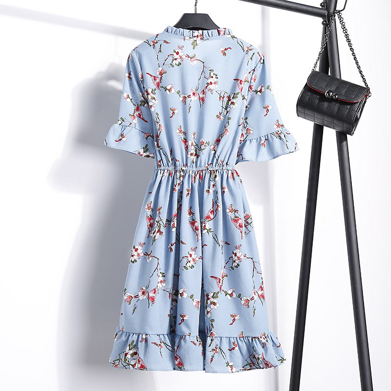 2018 Free Shipping New Fashion Floral Chiffon Summer Dresses Sweet Thin Word Slim Women Work Wear Print Dress Casual Cute Hot 16
