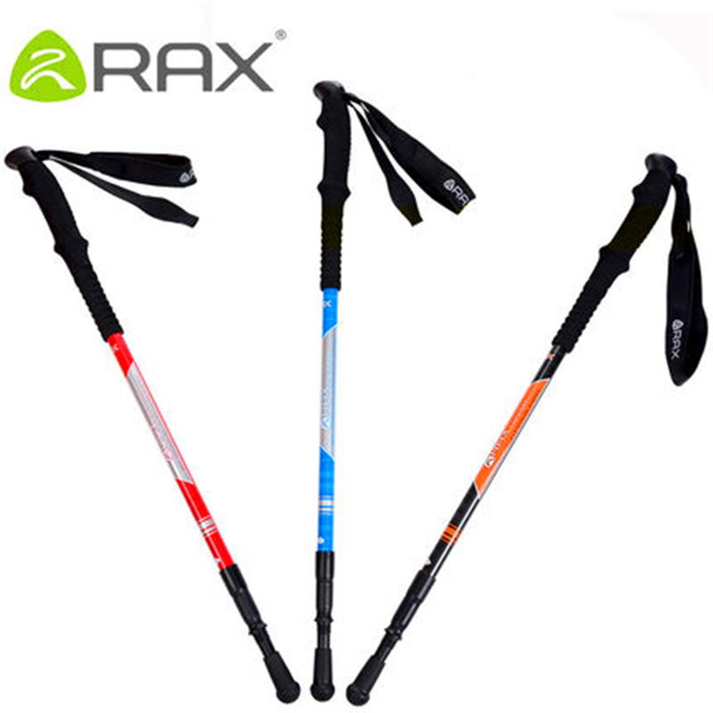 RAX new climbing stick cane Carbon Steel 3 Sections 68-135 cm Mountain-climbing Straight Grip Handle Rubbe climbing equipment<br><br>Aliexpress