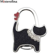 Portable Metal Foldable Bag Hook Purse Bag Hanger Purse Hook Handbag Holder Shell Bag Folding Table Black Cat Hook L09985