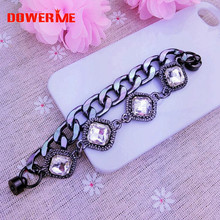 Dower Me Brand 1pcs Black Alloy Chain Phone Hanging Ornaments Colored Rhinestone Mobile Phone lanyard