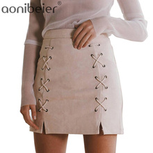 Women Mini Lace Up Skirt Classic Vintage All-Match Bandage Skirts Fashion Autumn Winter High Waist Bodycon Short Pencil Skirt