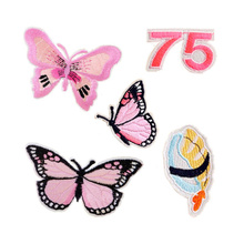 Fashion Butterfly Sushi 75 Patches Iron On Or Sew Fabric Sticker For Clothes Badge Embroidered Appliques DIY