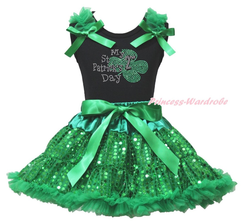 Black Top My 2ND St Patrick Day Clover Green Sequins Bling Girls Skirt Set 1-8Y<br>